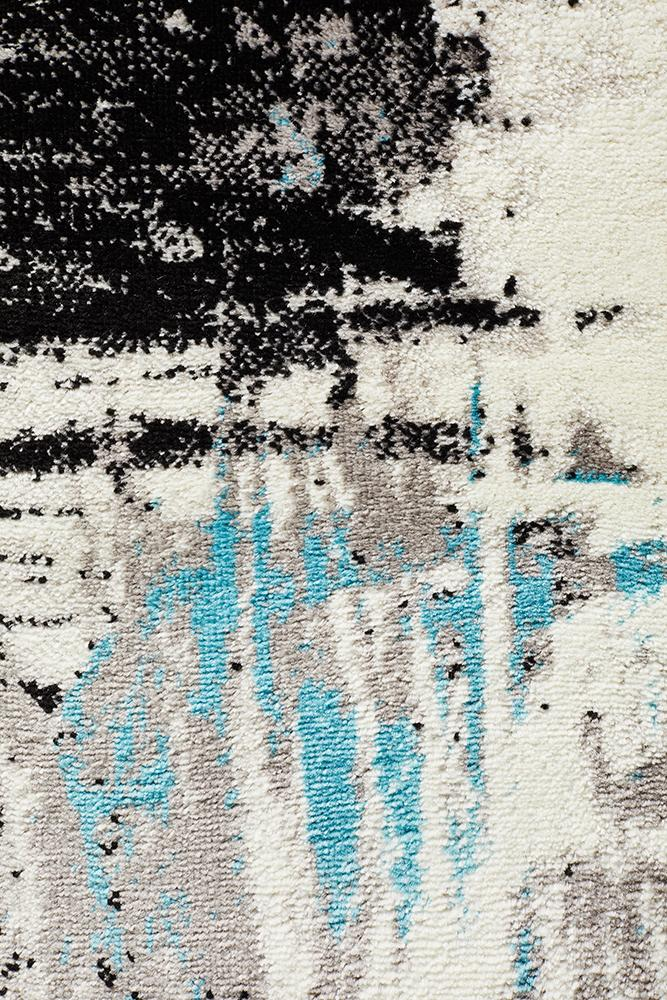 Willow Abstract Rug Blue White Black Grey
