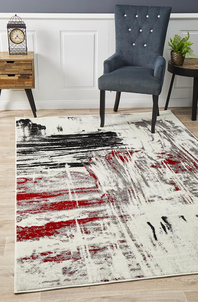 Willow Abstract Rug Red Black White Grey